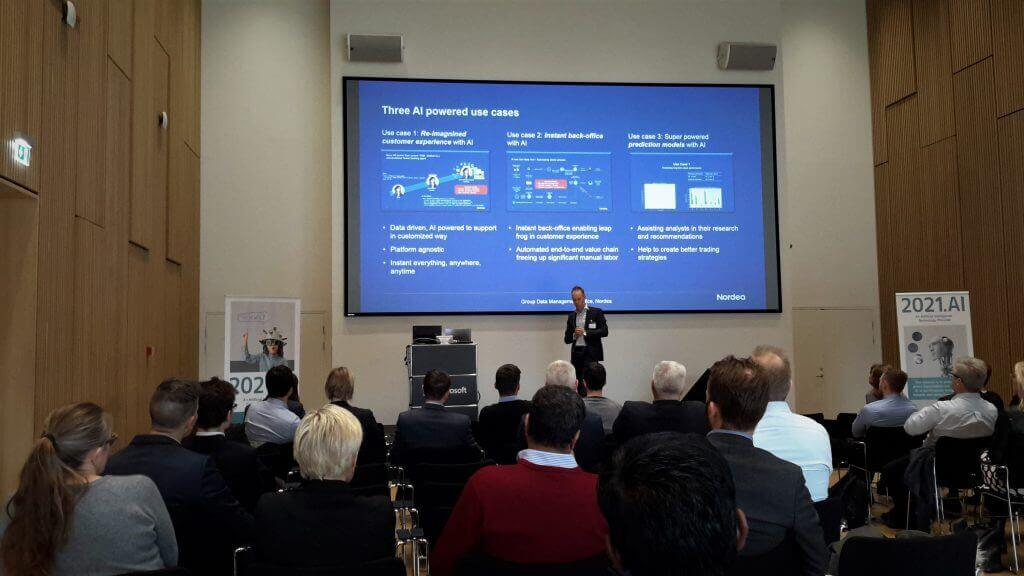 Christian Skøtt Maltesen from Nordea presenting at AI as a Service Conference